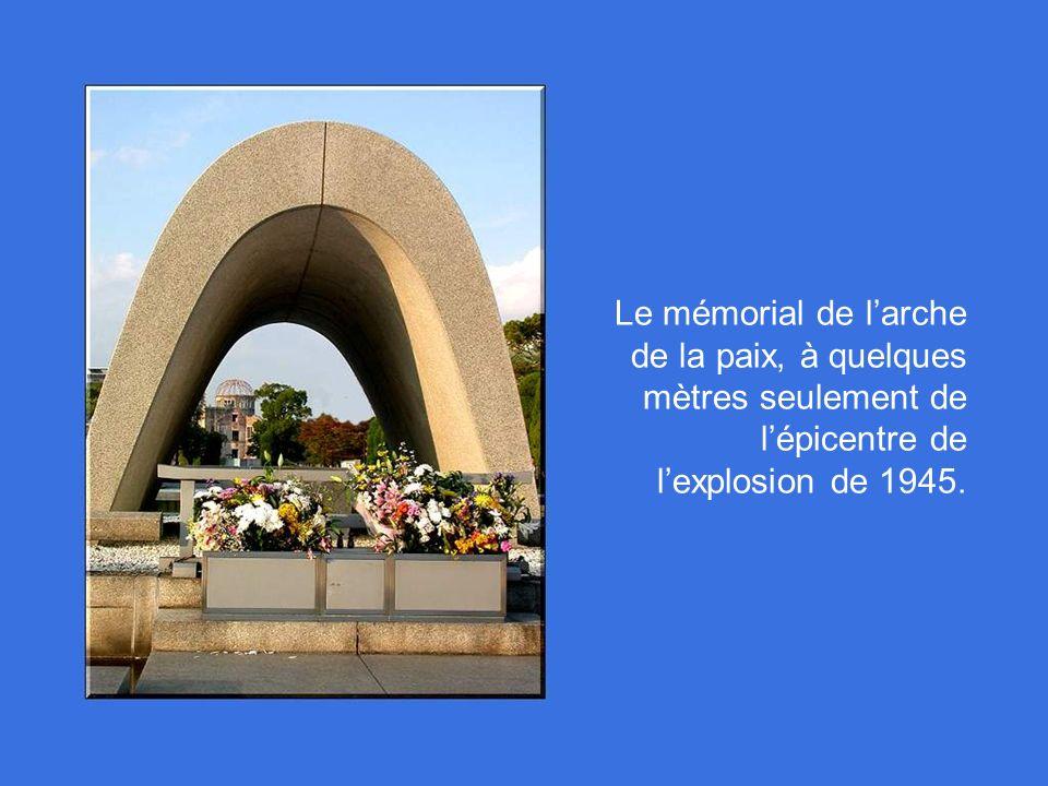 Le mémorial de l'arche de la paix, à quelques mètres seulement de l'épicentre de l'explosion de 1945.