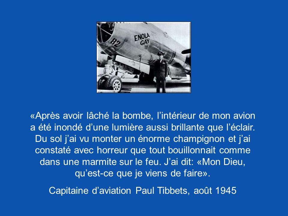 Capitaine d'aviation Paul Tibbets, août 1945
