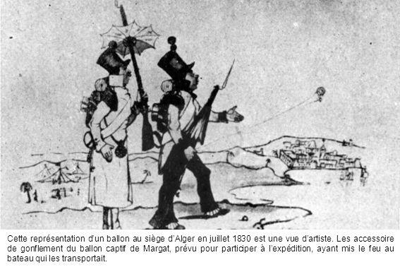 Cette représentation d'un ballon au siège d'Alger en juillet 1830 est une vue d'artiste.