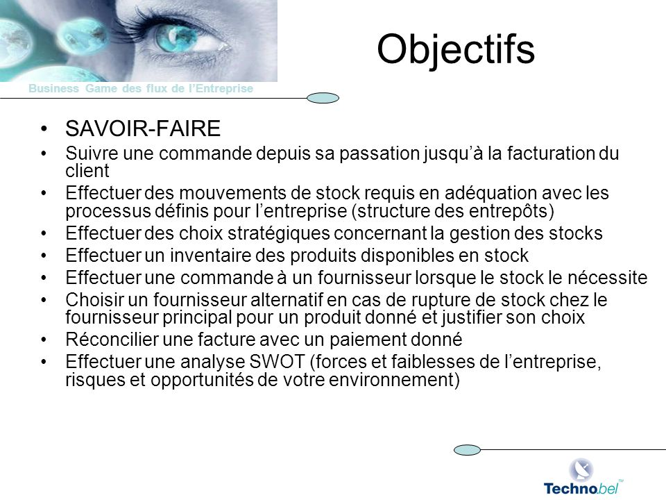 Objectifs SAVOIR-FAIRE