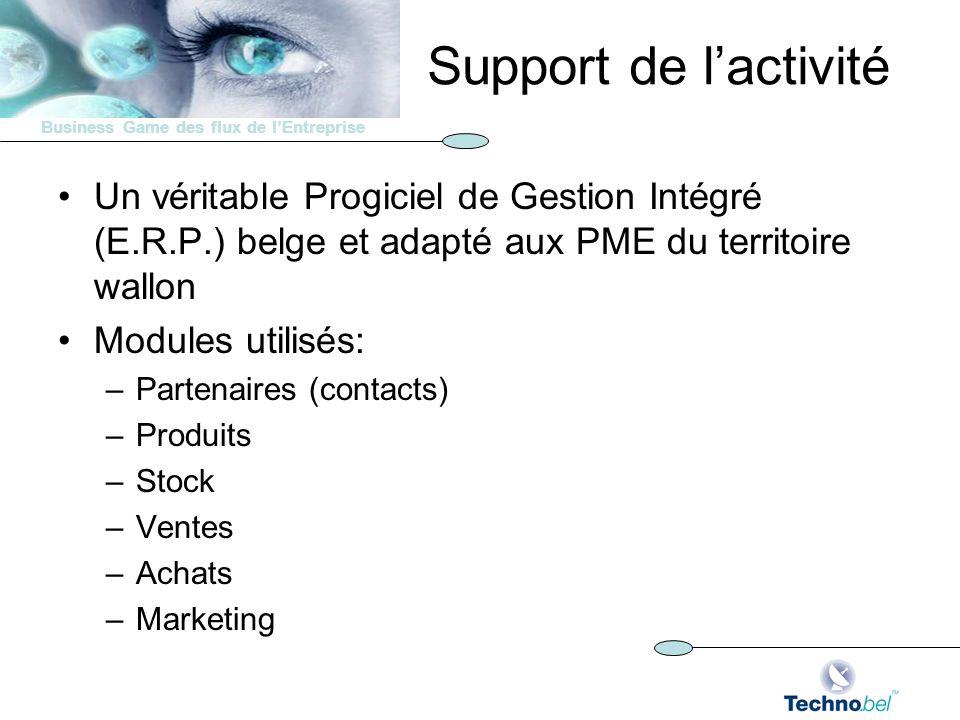 Support de l'activité Un véritable Progiciel de Gestion Intégré (E.R.P.) belge et adapté aux PME du territoire wallon.