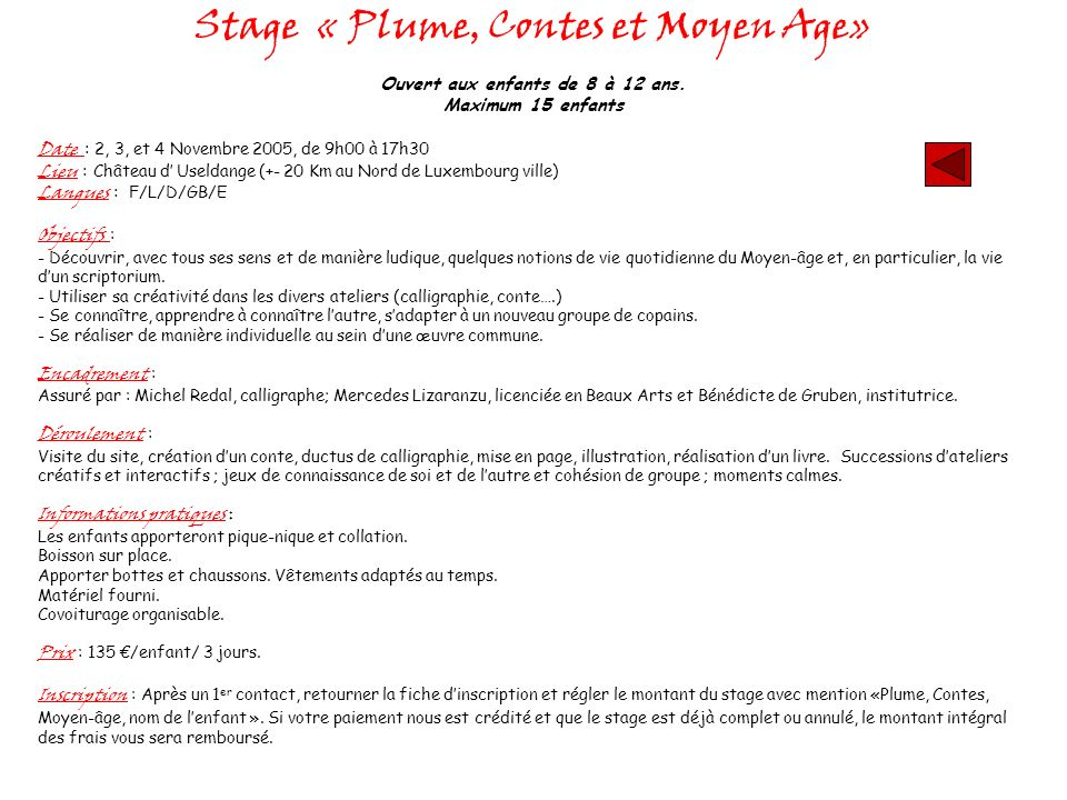 Stage « Plume, Contes et Moyen Age»