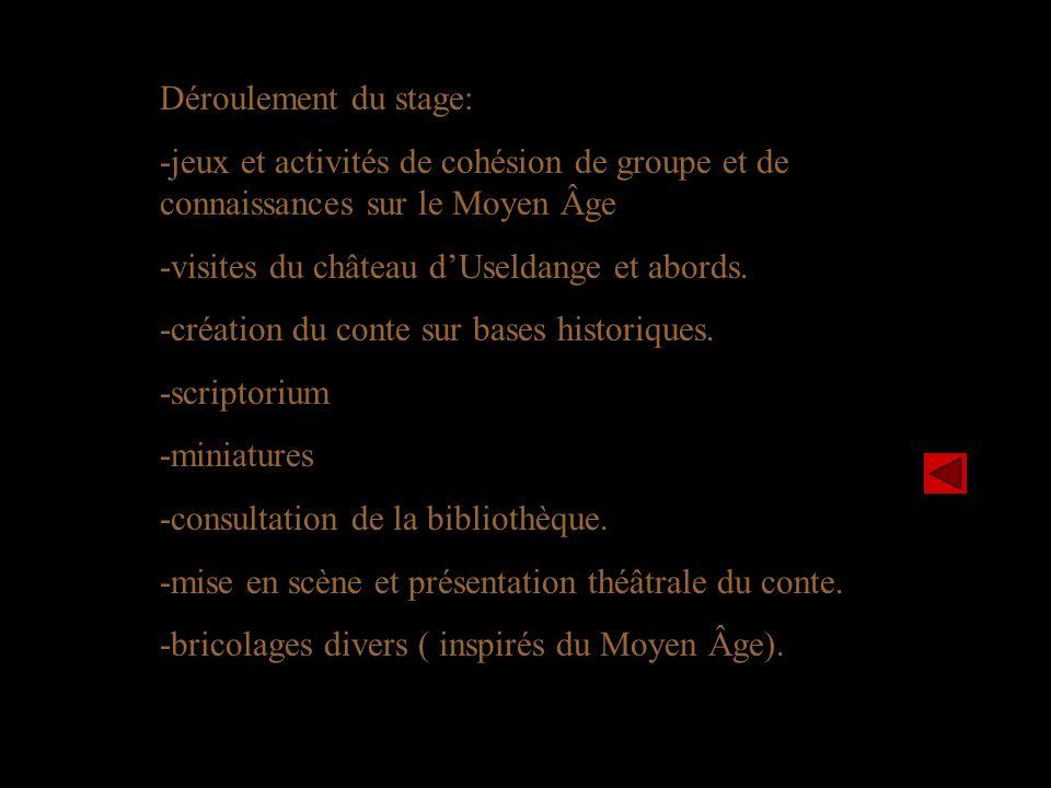 Déroulement du stage: -jeux et activités de cohésion de groupe et de connaissances sur le Moyen Âge.