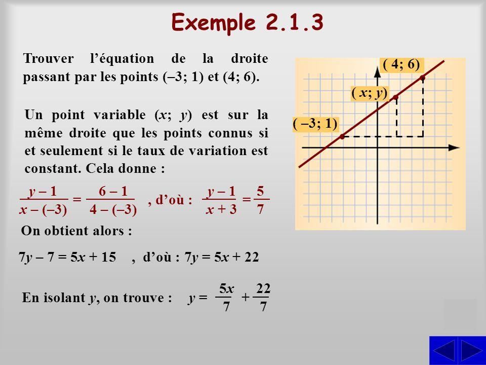 Exemple 2.1.3 Trouver l'équation de la droite passant par les points (–3; 1) et (4; 6). ( 4; 6) ( x; y)