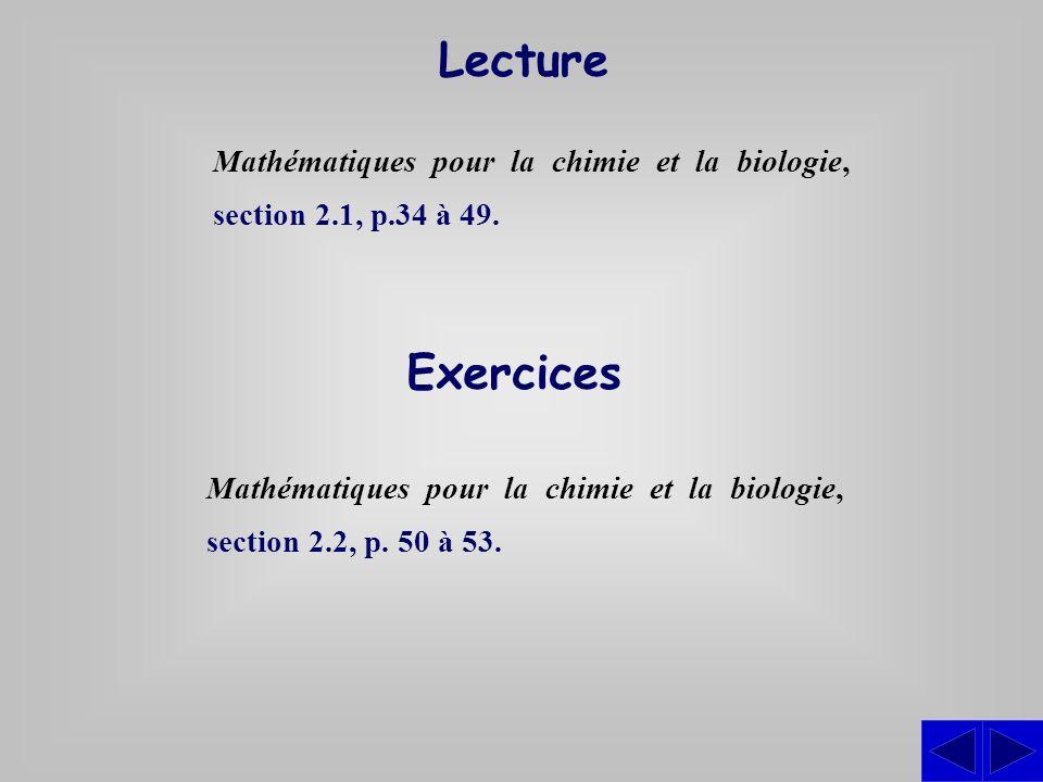 Lecture Mathématiques pour la chimie et la biologie, section 2.1, p.34 à 49. Exercices.