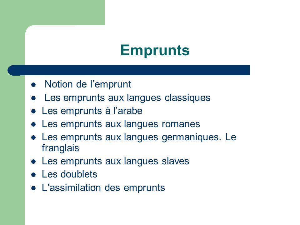 Emprunts Notion de l'emprunt Les emprunts aux langues classiques