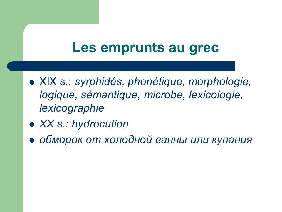 Les emprunts au grec XIX s.: syrphidés, phonétique, morphologie, logique, sémantique, microbe, lexicologie, lexicographie.