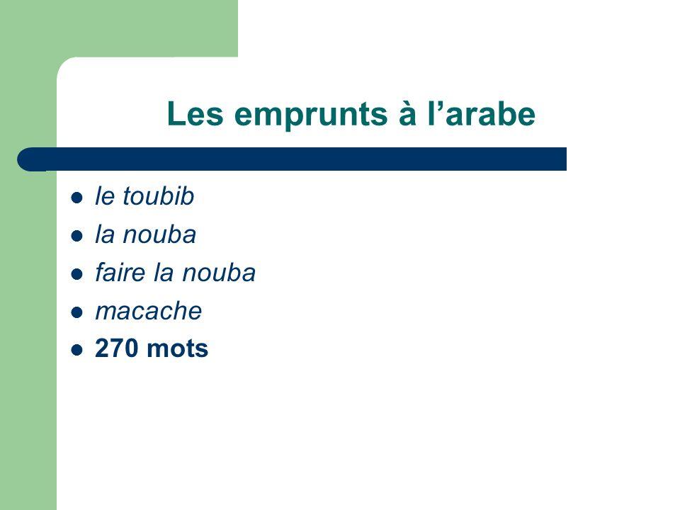 Les emprunts à l'arabe le toubib la nouba faire la nouba macache