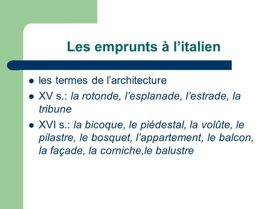 Les emprunts à l'italien