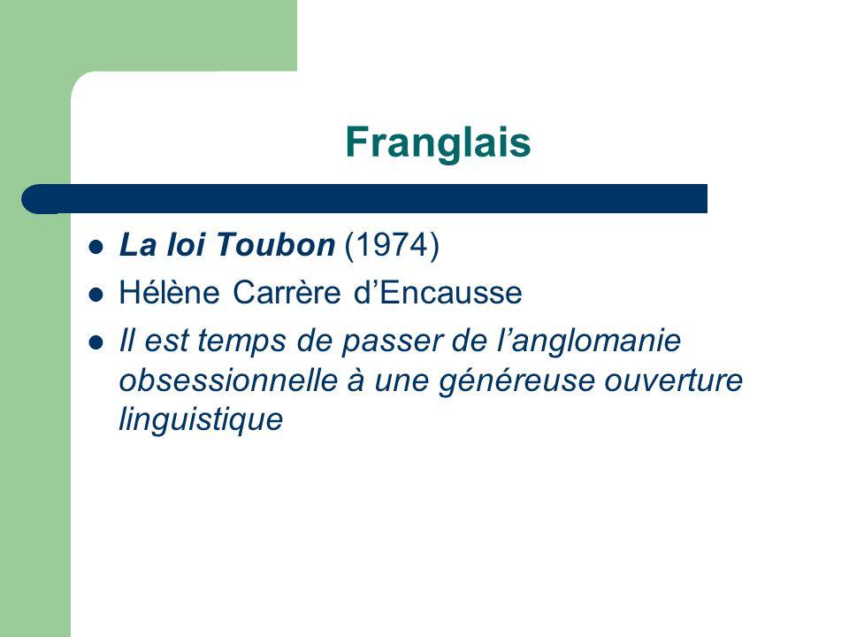 Franglais La loi Toubon (1974) Hélène Carrère d'Encausse