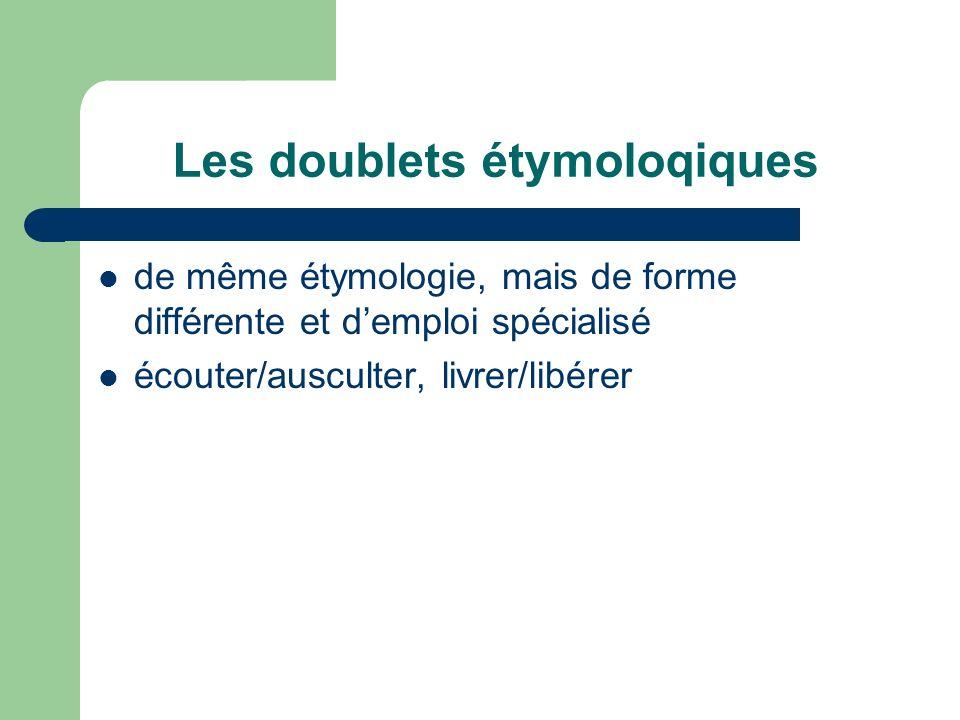 Les doublets étymoloqiques