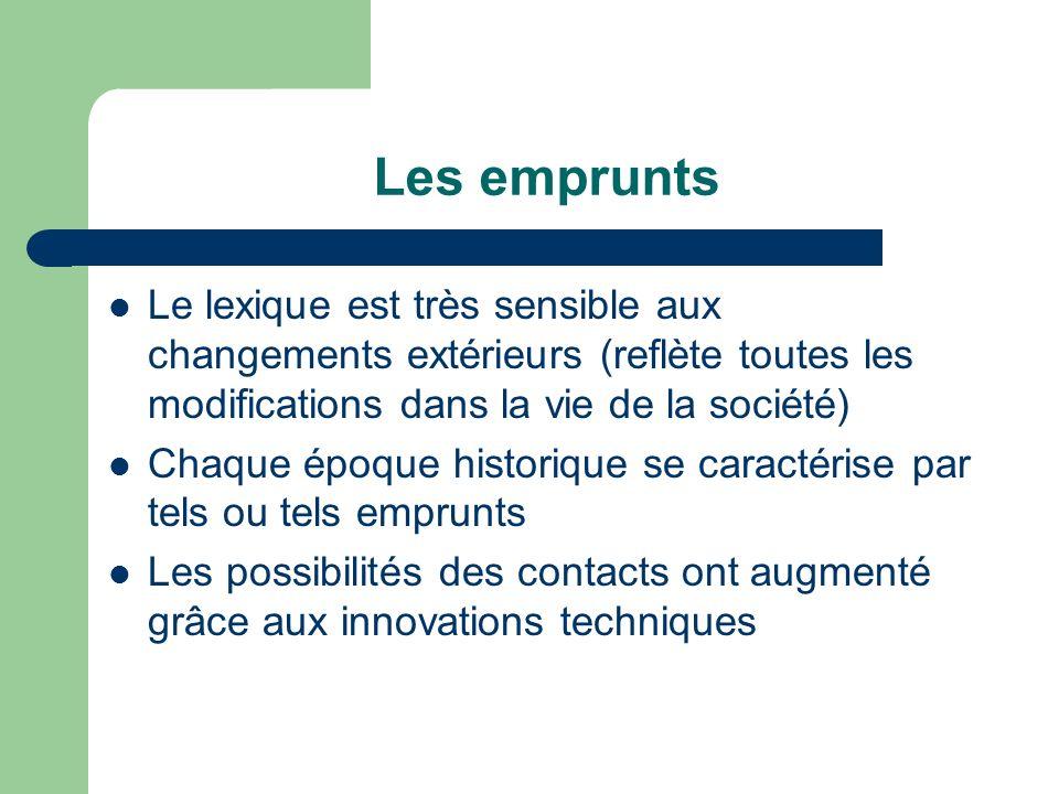 Les emprunts Le lexique est très sensible aux changements extérieurs (reflète toutes les modifications dans la vie de la société)