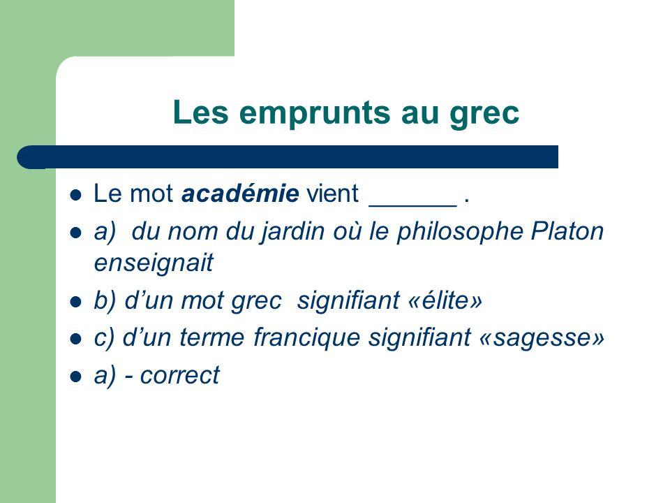 Les emprunts au grec Le mot académie vient ______ .