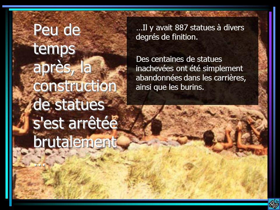 …Il y avait 887 statues à divers degrés de finition.