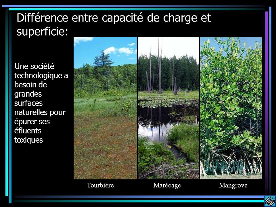 Différence entre capacité de charge et superficie: