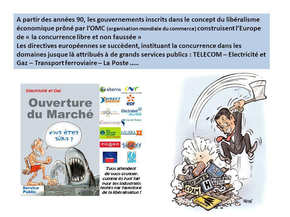 A partir des années 90, les gouvernements inscrits dans le concept du libéralisme économique prôné par l'OMC (organisation mondiale du commerce) construisent l'Europe de « la concurrence libre et non faussée »