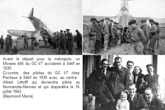 Avant le départ pour la métropole, un Morane 406 du GC I/7 accidenté à Sétif en 1939.