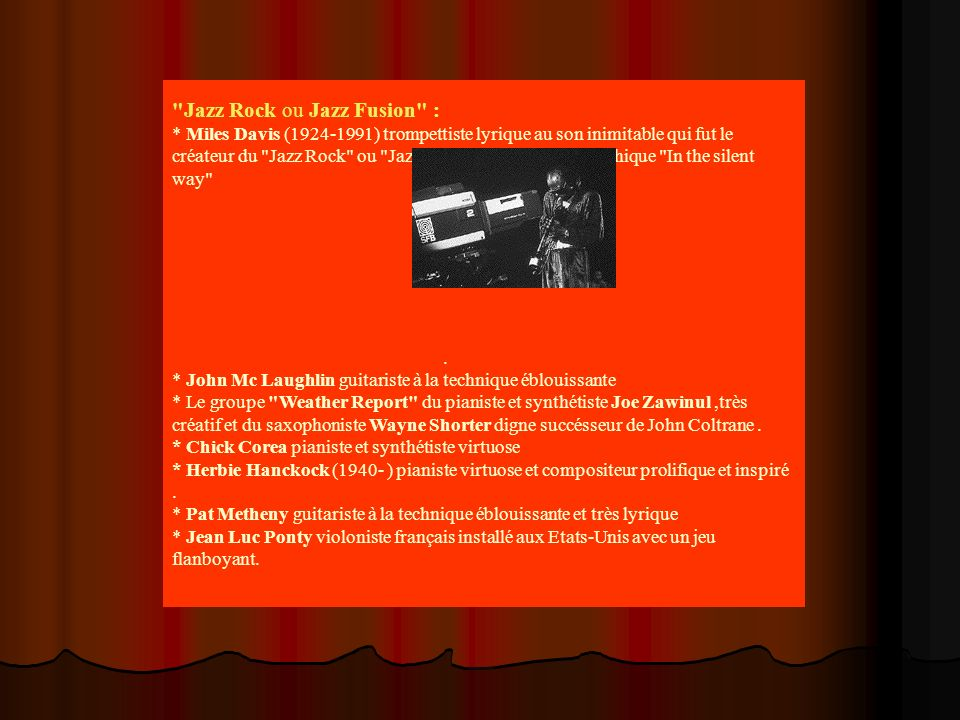 Jazz Rock ou Jazz Fusion :