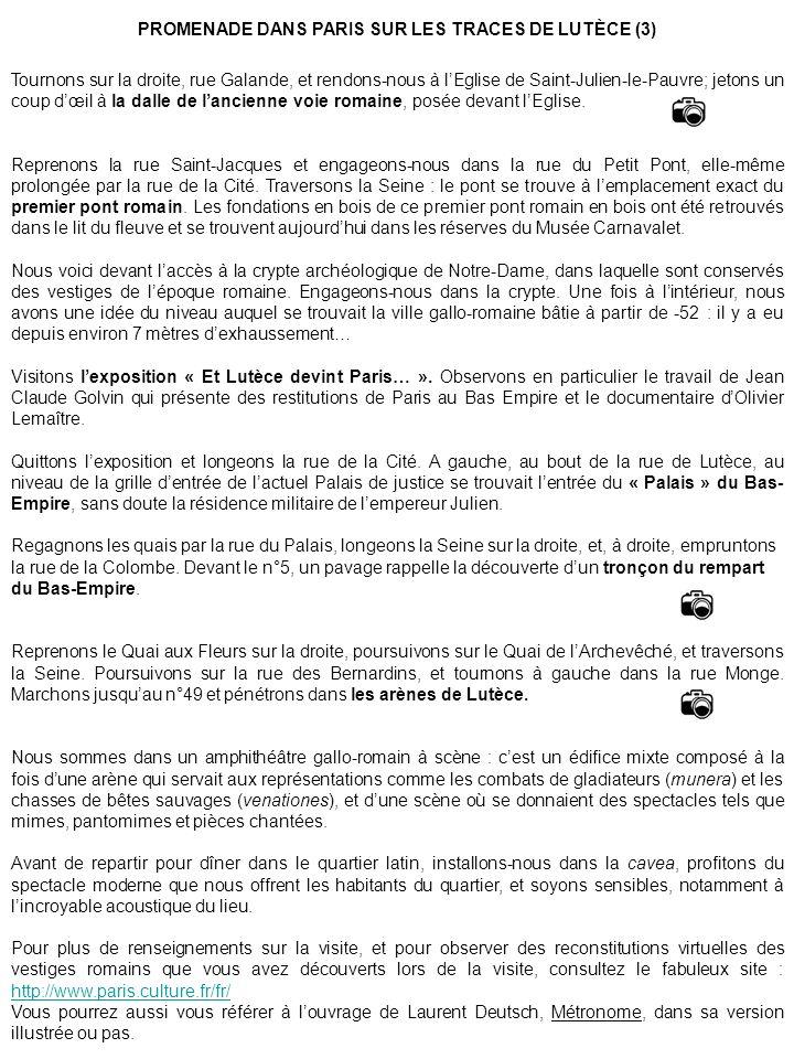 PROMENADE DANS PARIS SUR LES TRACES DE LUTÈCE (3)