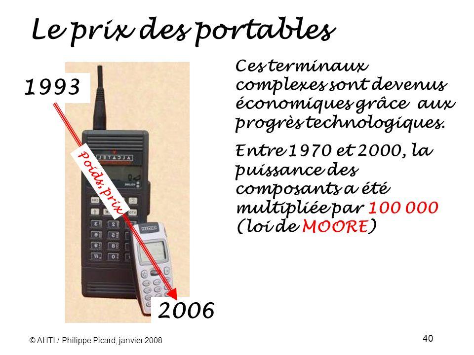 Le prix des portables Ces terminaux complexes sont devenus économiques grâce aux progrès technologiques.