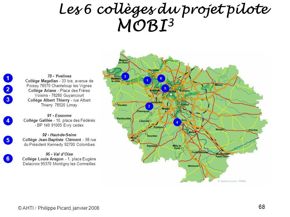 Les 6 collèges du projet pilote MOBI3