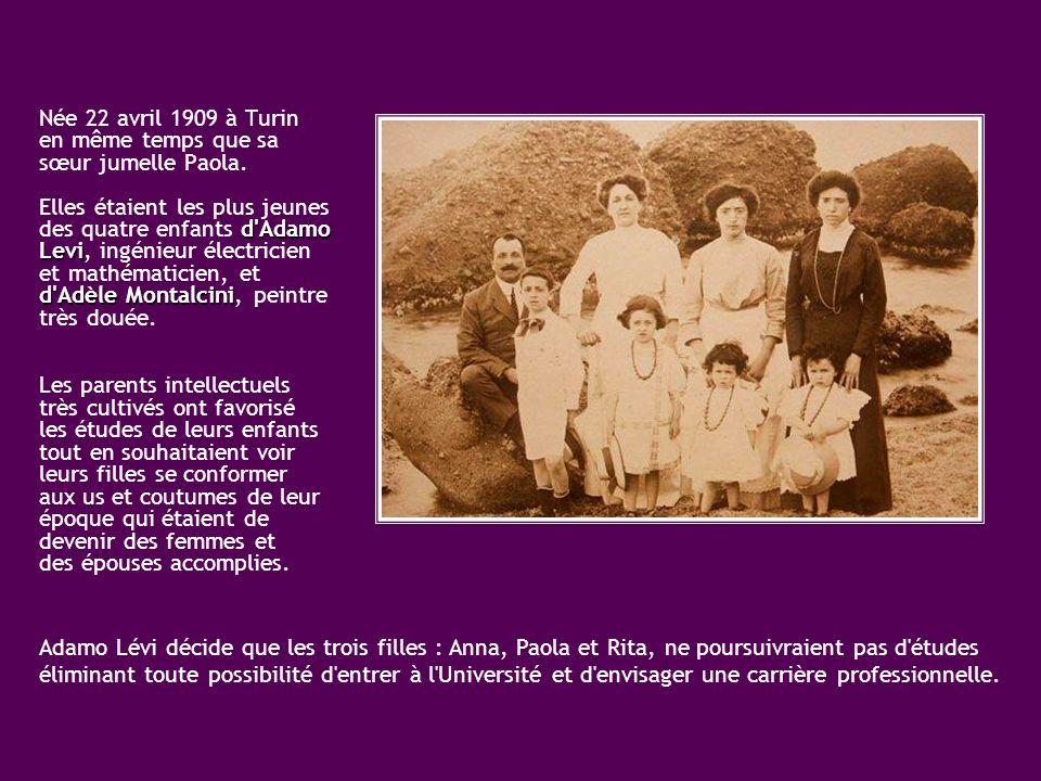 Née 22 avril 1909 à Turin en même temps que sa sœur jumelle Paola