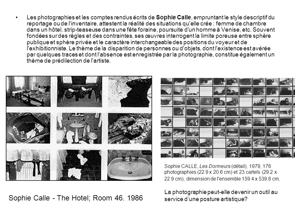 Sophie Calle - The Hotel; Room 46. 1986