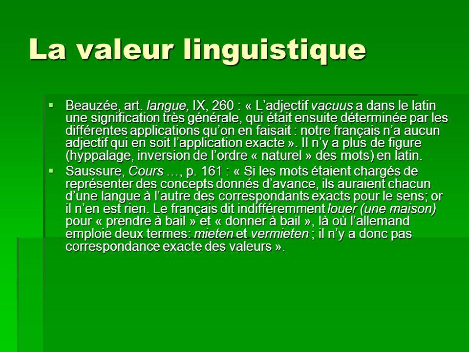 La valeur linguistique