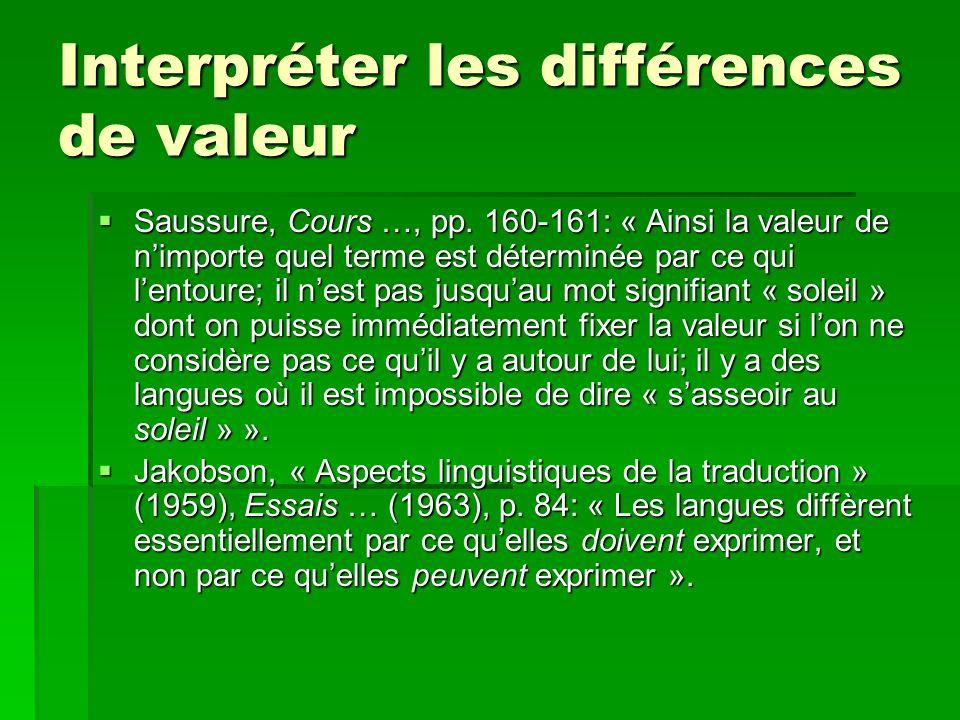 Interpréter les différences de valeur