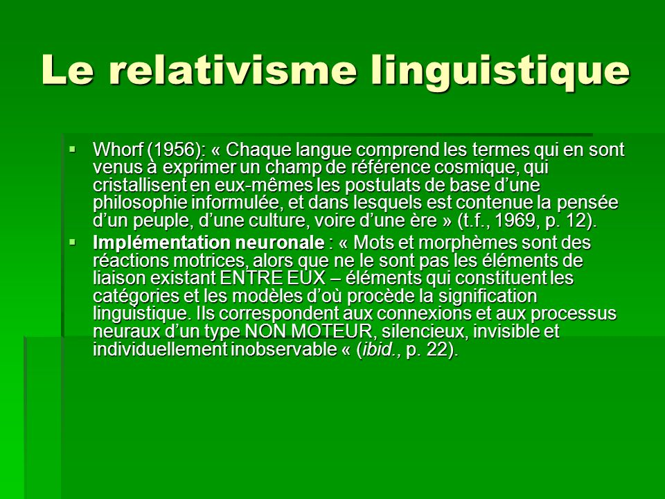 Le relativisme linguistique
