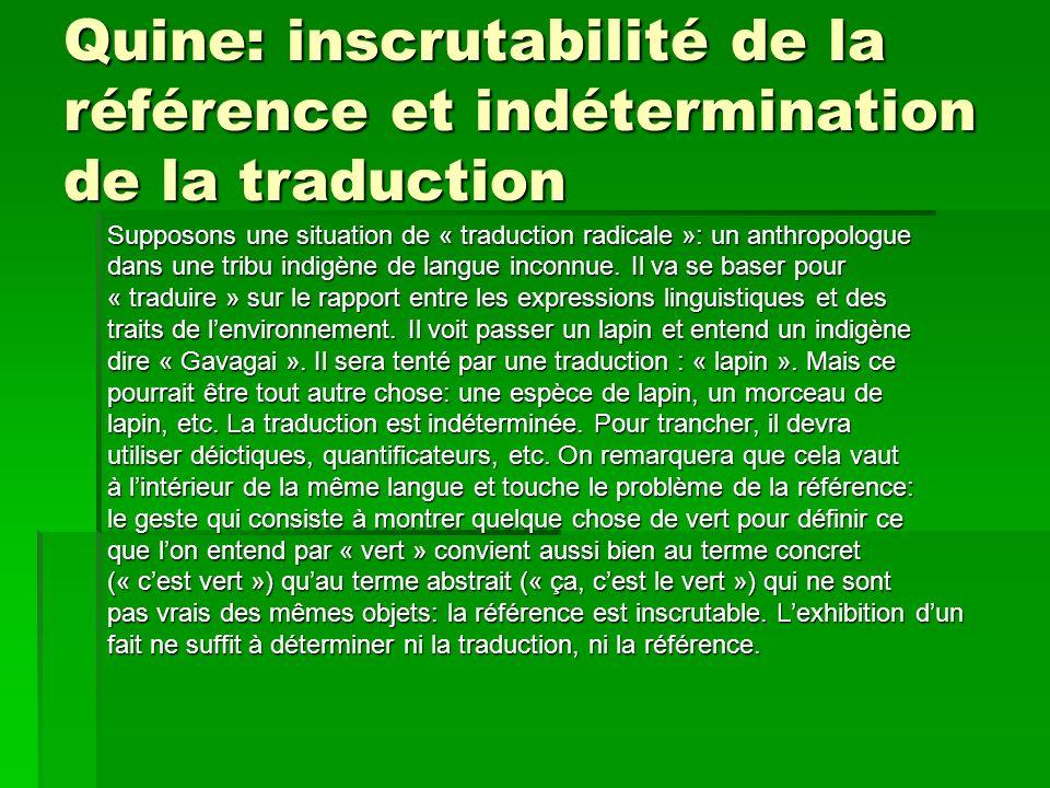 Quine: inscrutabilité de la référence et indétermination de la traduction