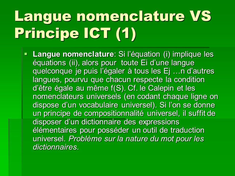 Langue nomenclature VS Principe ICT (1)