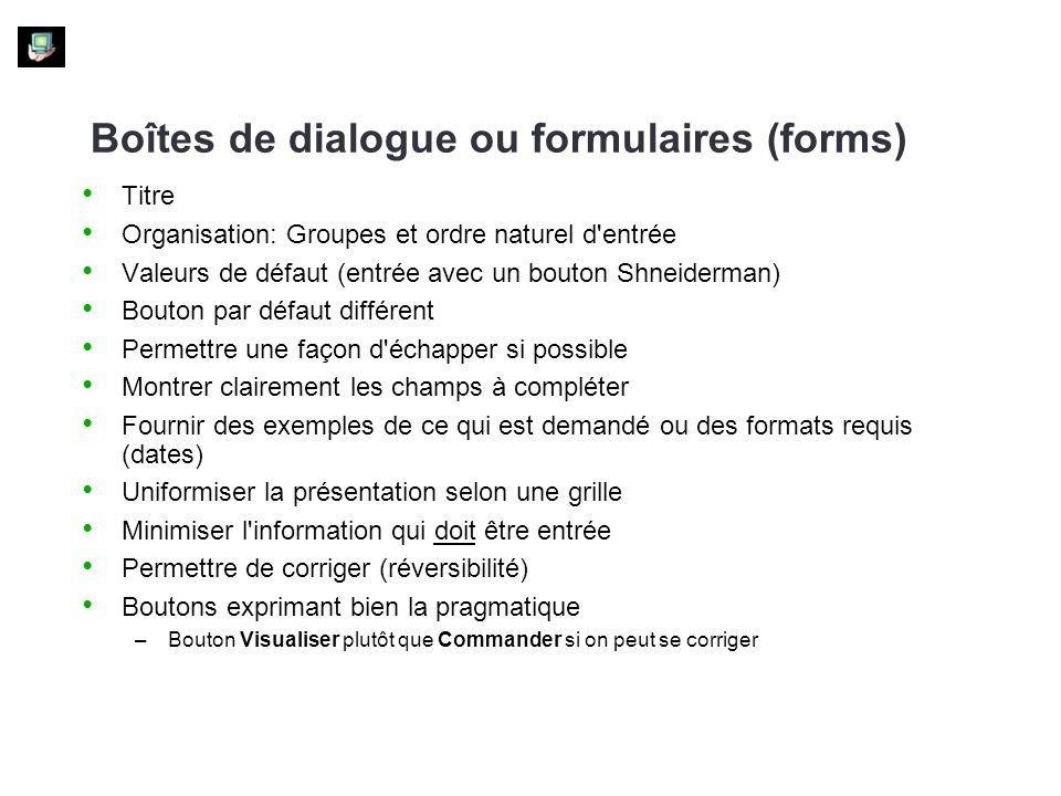 Boîtes de dialogue ou formulaires (forms)