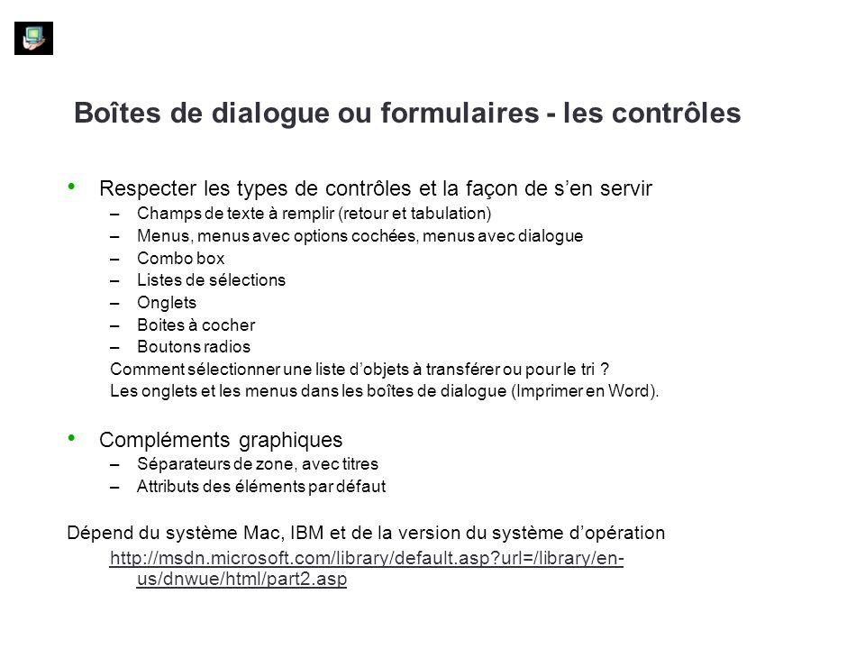 Boîtes de dialogue ou formulaires - les contrôles