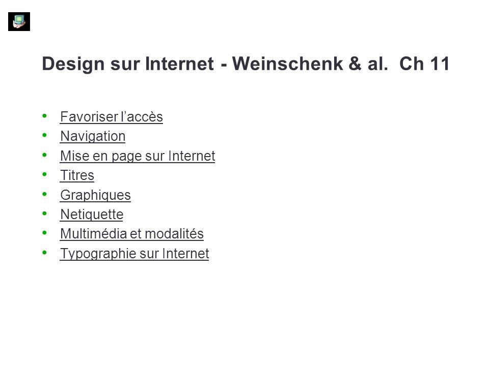 Design sur Internet - Weinschenk & al. Ch 11