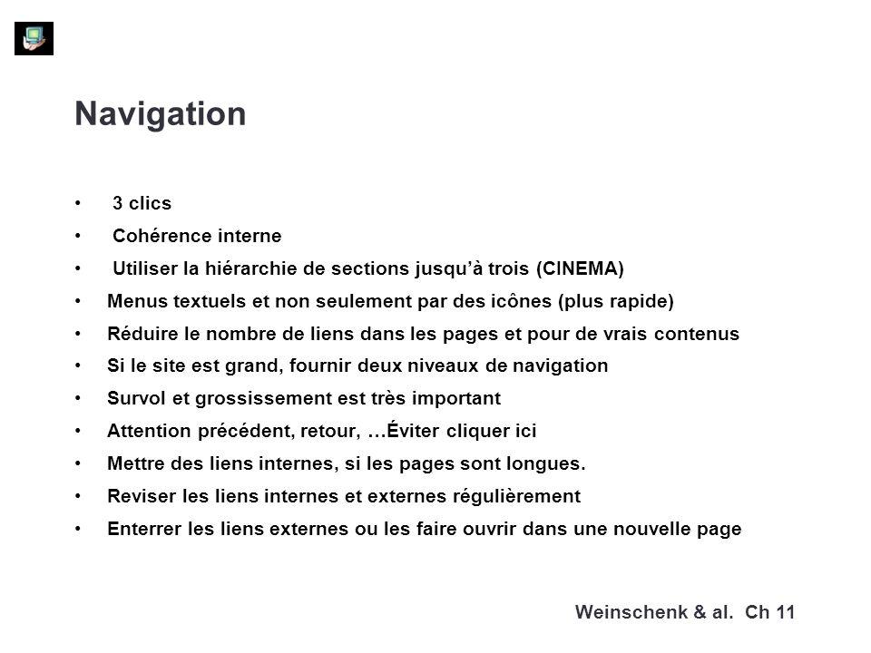 Navigation 3 clics Cohérence interne