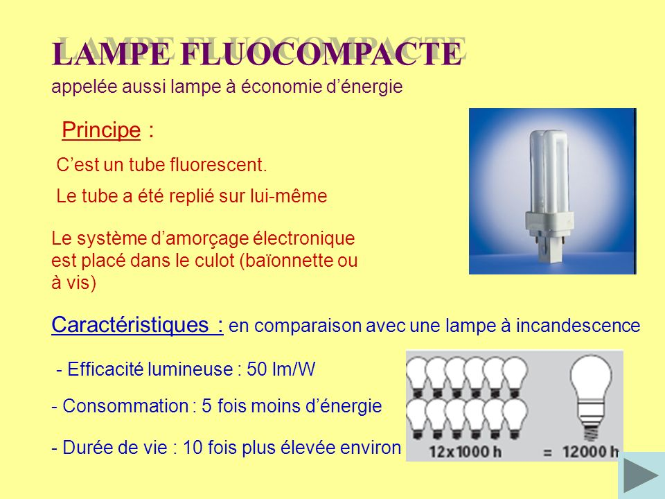 LAMPE FLUOCOMPACTE Principe :