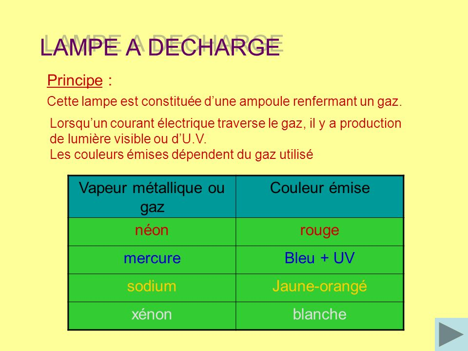 Vapeur métallique ou gaz