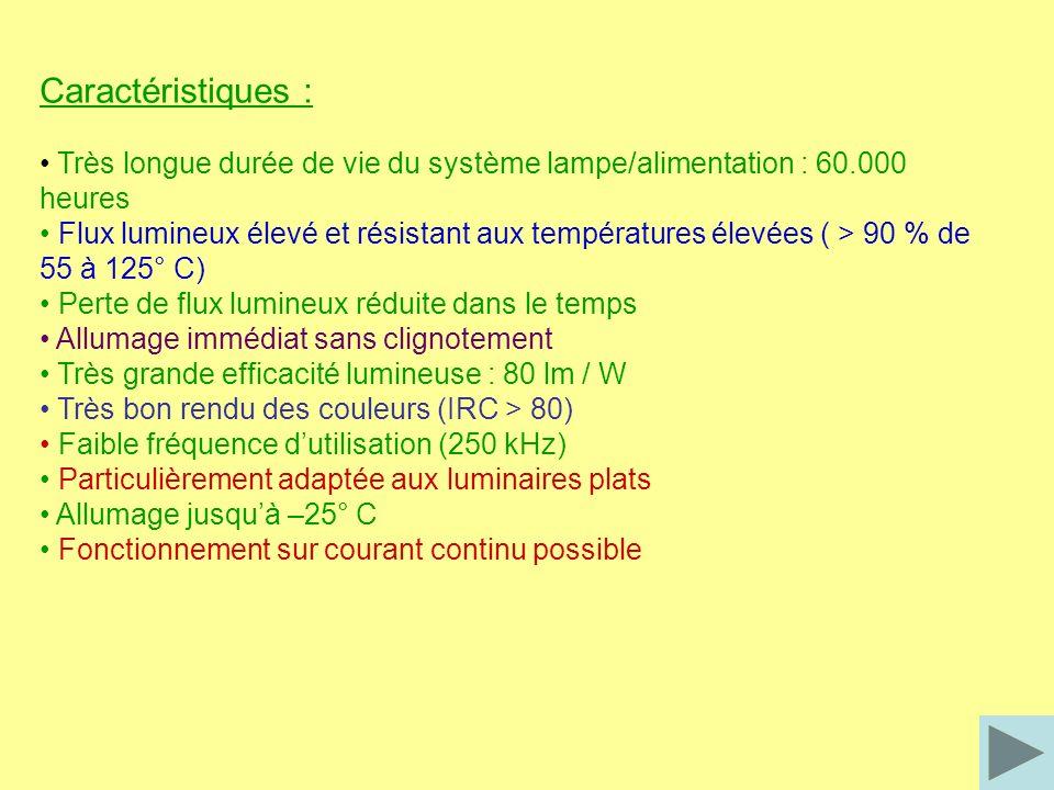 Caractéristiques : • Très longue durée de vie du système lampe/alimentation : 60.000 heures.