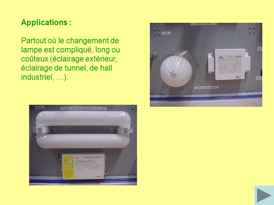 Applications : Partout où le changement de lampe est compliqué, long ou coûteux (éclairage extérieur, éclairage de tunnel, de hall industriel, …).