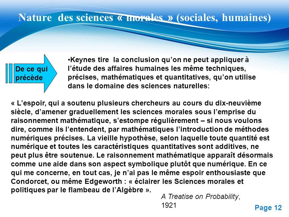Nature des sciences « morales » (sociales, humaines)