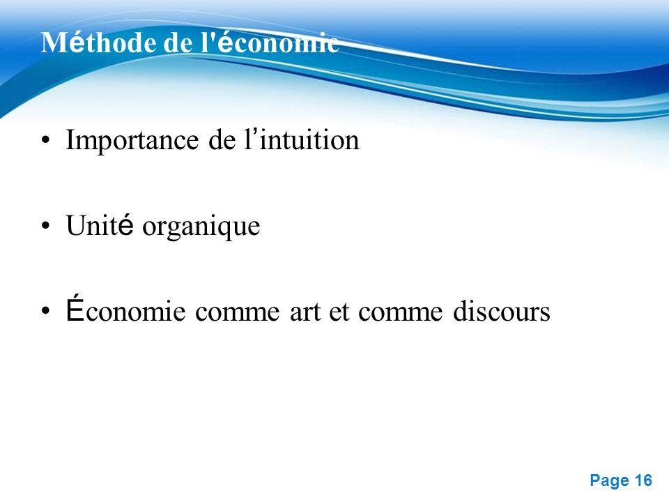 Méthode de l économie Importance de l'intuition. Unité organique.