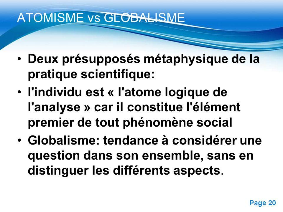 ATOMISME vs GLOBALISME