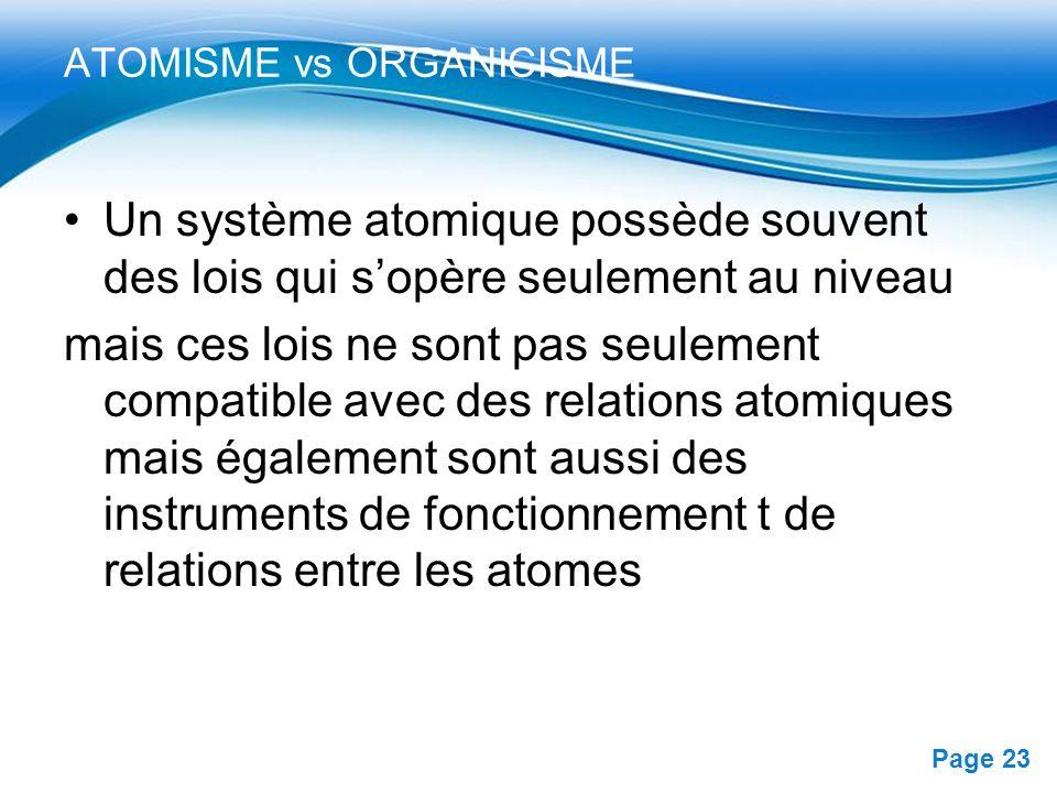ATOMISME vs ORGANICISME