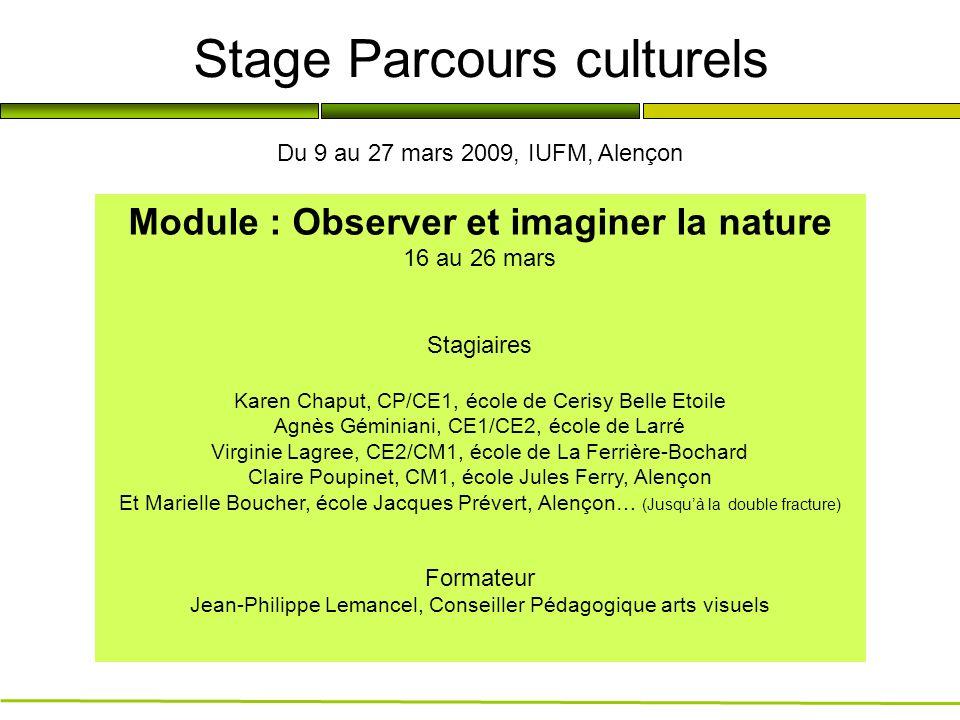Stage Parcours culturels