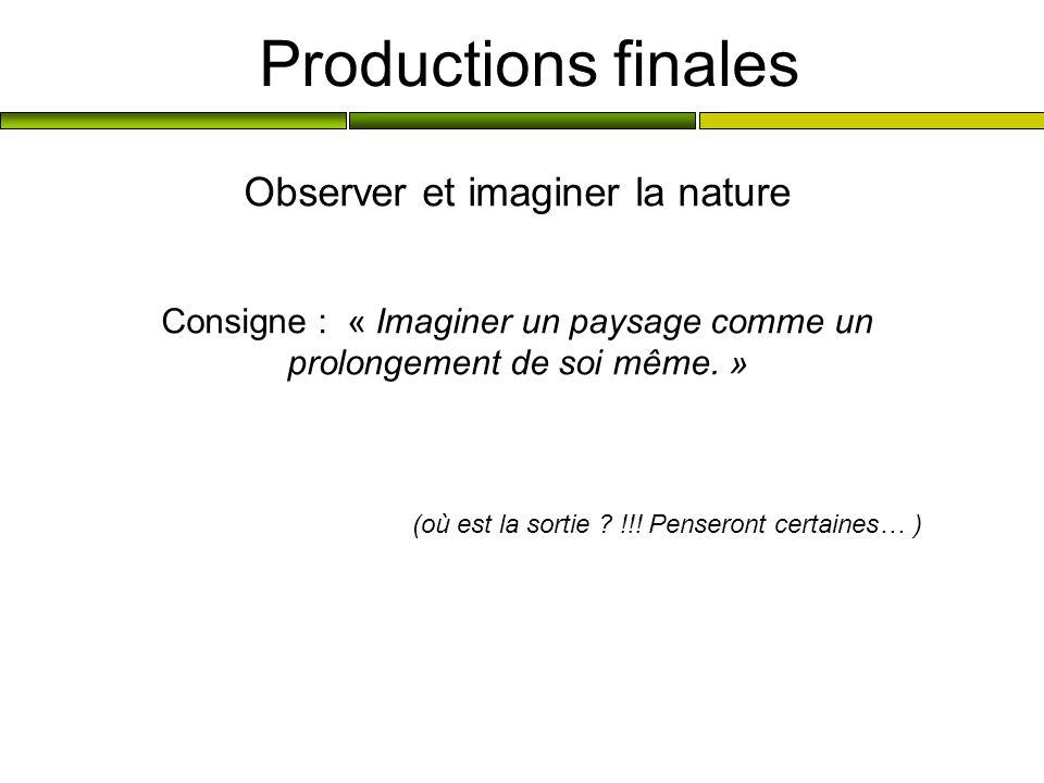 Productions finales Observer et imaginer la nature