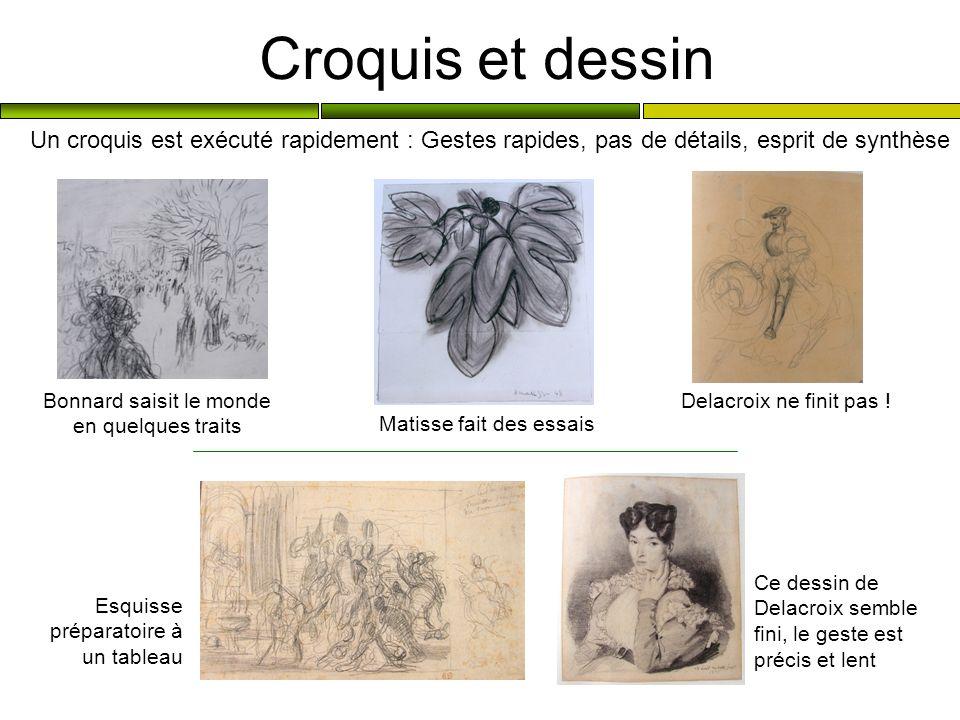 Croquis et dessin Un croquis est exécuté rapidement : Gestes rapides, pas de détails, esprit de synthèse.