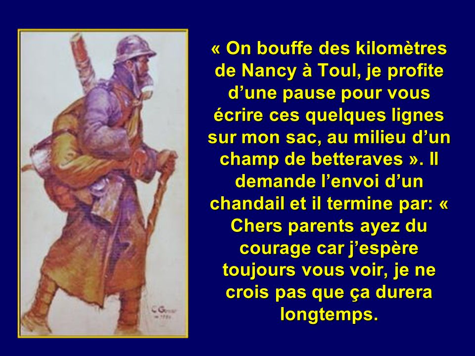« On bouffe des kilomètres de Nancy à Toul, je profite d'une pause pour vous écrire ces quelques lignes sur mon sac, au milieu d'un champ de betteraves ».