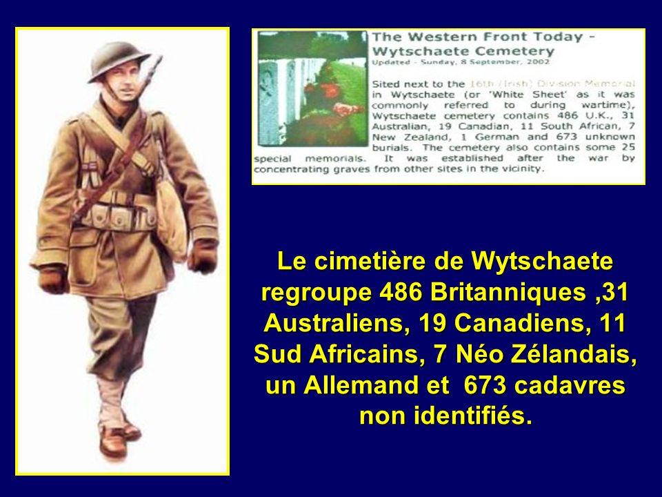 Le cimetière de Wytschaete regroupe 486 Britanniques ,31 Australiens, 19 Canadiens, 11 Sud Africains, 7 Néo Zélandais, un Allemand et 673 cadavres non identifiés.