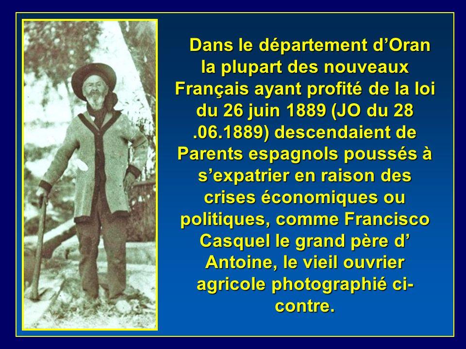 Dans le département d'Oran la plupart des nouveaux Français ayant profité de la loi du 26 juin 1889 (JO du 28 .06.1889) descendaient de Parents espagnols poussés à s'expatrier en raison des crises économiques ou politiques, comme Francisco Casquel le grand père d' Antoine, le vieil ouvrier agricole photographié ci-contre.